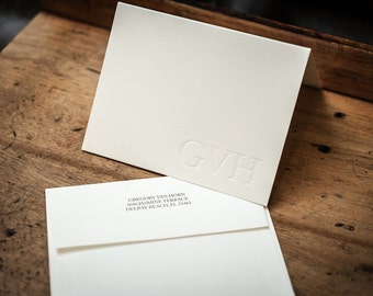 Custom Letterpress Personal Stationary Cards with matching envelopes, cotton paper, A2 sized cards.  Black ink with blind emboss.