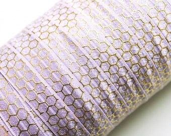 "5/8"" Fold Over Elastic Light Orchid with Gold Honeycomb, Metallic, Shiny FOE, Printed"