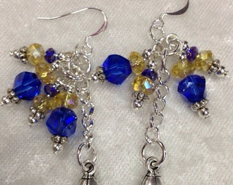 St. Louis Rams Football Blue and Gold Dangle Earrings