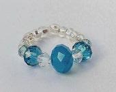 Turquoise Ring, Glass Beaded Ring, Turquoise Jewelry, Swarovski Elements Crystal Ring, Fashion Ring, Swarovski Ring