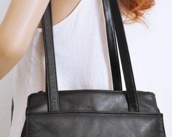 Free Ship Black Leather Purse Shoulder Bag