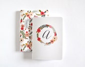 Monogram Pocket Journal Set of 2 | Personalized Journals with Illustrated Floral Wreath and Pattern, Small Notebook Set : Blooming Wreath