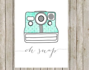 8x10 Retro Camera Print, Printable Wall Art, Office Print, Aqua Wall Art, Camera Poster, Home Decor, Nursery, Instant Digital Download