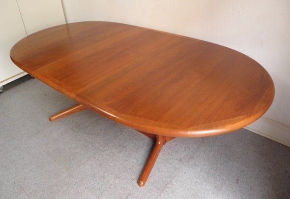 SOLD Danish Modern Teak Expandable Dining Table With Pedestal Base