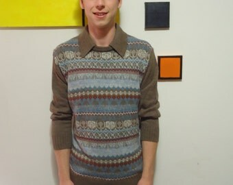 Vintage 70s Mister Man Collared Sweater XL
