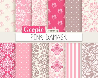 "Pink damask digital paper: ""PINK DAMASK"" digital paper pack with pink damask backgrounds and classical patterns"