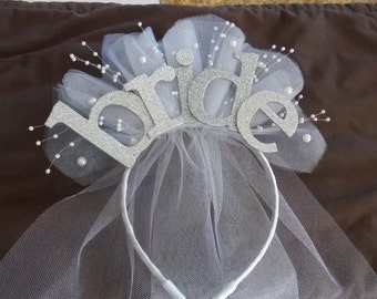 Bride Party  XL sparkle Headband  with veil for new  Bride to be , Bride Gift, Bridal Shower and  Bachelorette Gift