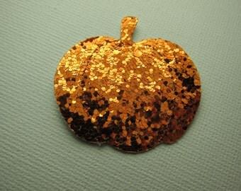 Orange Glitter Pumpkin Cut Outs/Appliques Set of 6