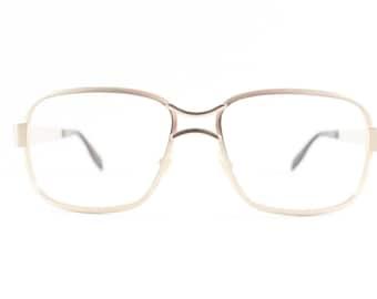 Vintage Eyeglass Frame   Safilo   Gold   Square Horn-Rimmed Glasses  - New Yorker