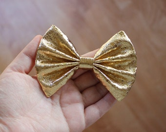 "4"" or 4.5"" shiny gold metallic fabric hair bow clip, gold hair bow, metallic hair bow, metallic gold, gold hairbow, kids gold bow, barrette"