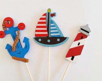 Nautical Diaper Cake Toppers, Diaper Cake Decorations, Ahoy It's A Boy Decor, Diaper Centerpieces, Sailor Baby Shower