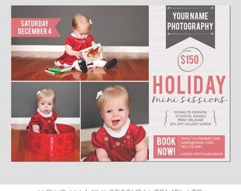 Holiday Mini Photography Sessions Template  - Modern -  Winter - Children - Snow - Portraits - 5x7 - Flyer - Digital - Christmas - Xmas