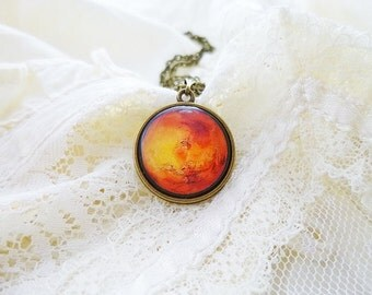 Mars Necklace, Mars, Solar System Necklace, Planet Necklace, The Red Planet, Space Jewelry, Solar System, Planet Jewelry, Universe, Galaxy