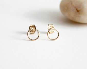 Circle Stud Earrings - Tiny 14K Gold Filled Wire Studs- Geometric Earrings #FNYE01