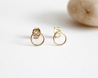 Circle Stud Earrings - Tiny 14K Gold Filled Wire Studs- Geometric Earrings #FNYE01