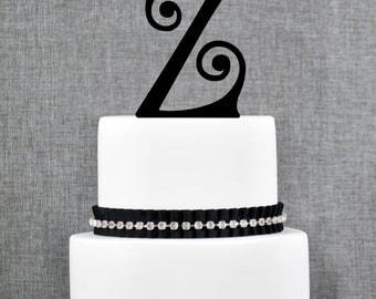 Personalized Monogram Initial Wedding Cake Toppers -Letter Z, Custom Monogram Cake Toppers, Unique Cake Toppers, Traditional Initial Toppers