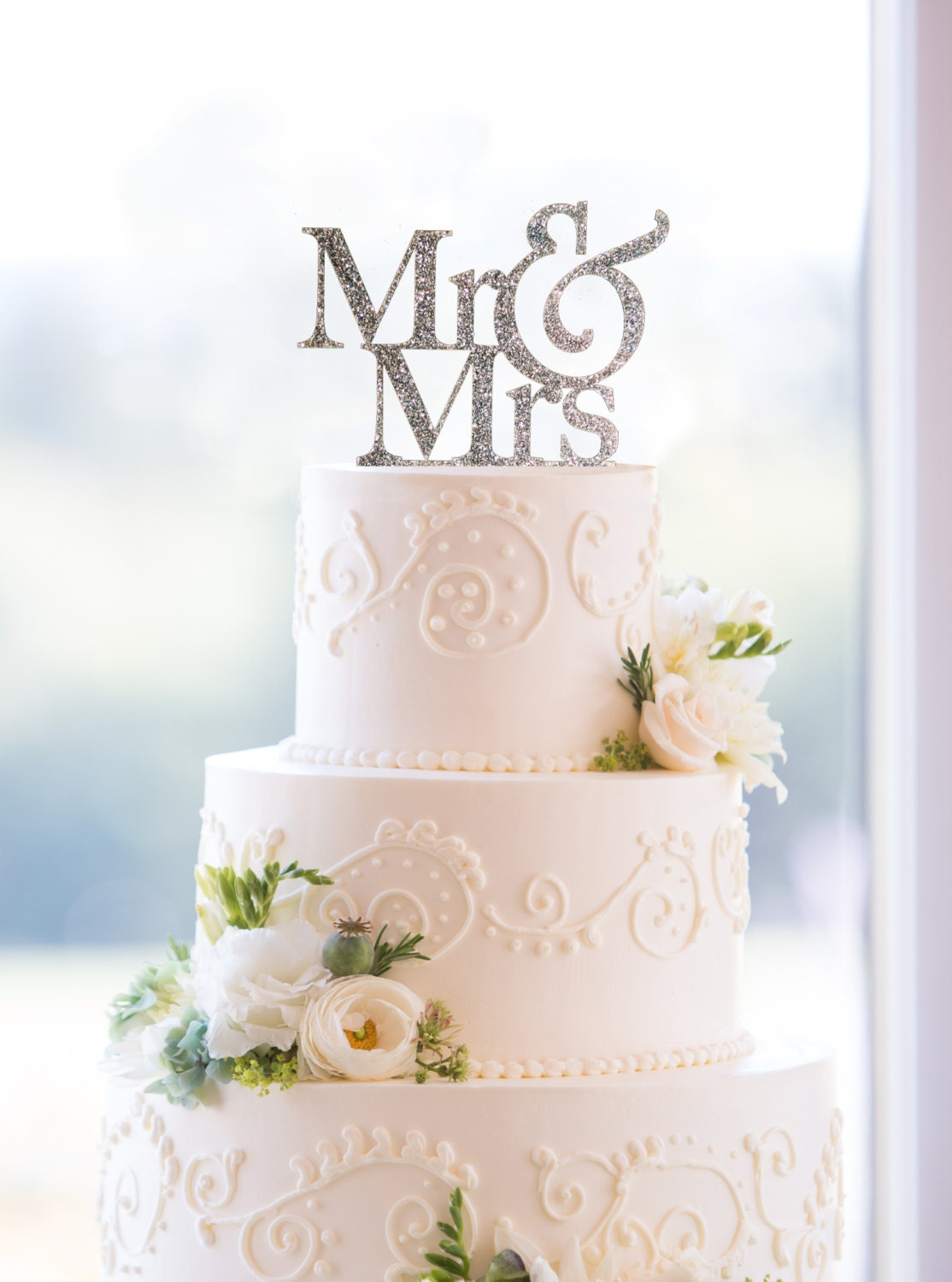 Glitter Mr and Mrs Wedding Cake Toppers in your by