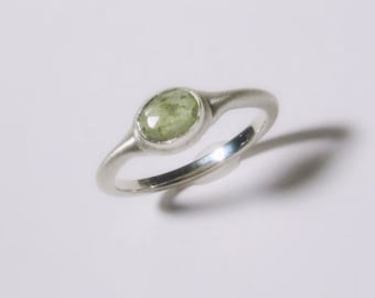 25% OFF - Rose Cut Natural Green Sapphire Ring in Sterling Silver, bushed matte, Ready to Ship, Size 5.50