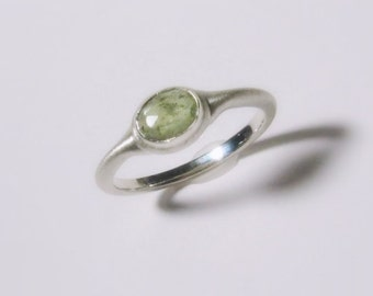 Rose Cut Natural Green Sapphire Ring in Sterling Silver, bushed matte, Ready to Ship, Size 5.50