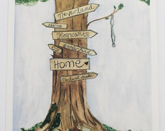 literary tree signs- 8x10 Digital Print