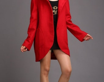 Women's hooded cape red winter coat cashmere wool coat