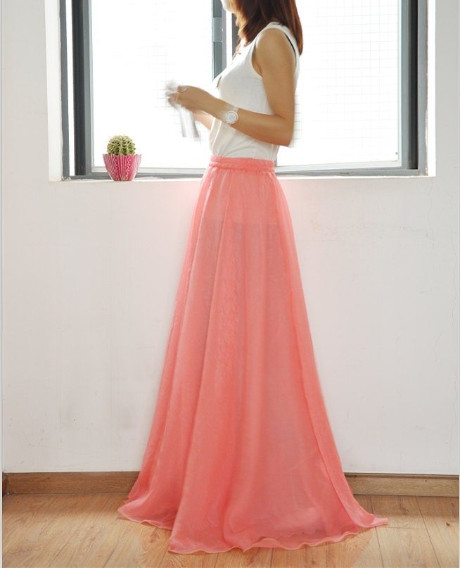High Waist Maxi Skirt Chiffon Long Skirt Silk Skirts Elegant