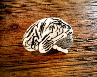 Braaaiiinnnsss!!! - Black and White Grey Matter Pin - Brain Brooch