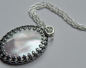 Mother of Pearl Necklace Mother of Pearl Cabochon Necklace Shell Necklace