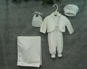 6 pcs Vintage Vatican Library Collection Boys Baptism Suit Size 3 Months, 3 Month Set, Baby Boy's Cotton Suit, Short Sleeve, Long Pants