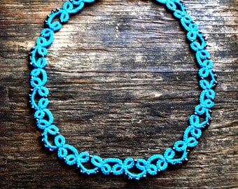 Scuba blue Tatted necklace with bronze seed beads//beaded necklace//Tatted jewelry//frivolite//summer necklace