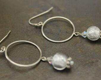 01 - Sterling Silver, Venetian Glass, Swarovski, Dangle, Earrings, OOAK, One-of-a-Kind