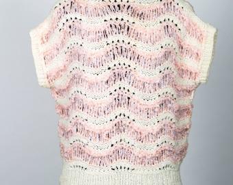 Ladies vintage peach and cream knitted short sleeve jumper
