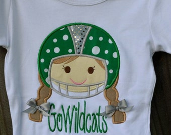Personalized Football Helmet Girl Applique Shirt or Onesie