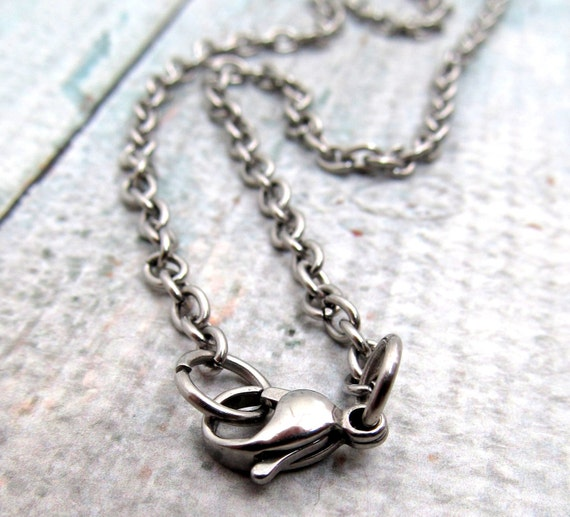 stainless steel cable chain necklace with lobster clasp