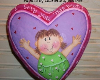 LOVE, Valentines Day, Hand painted, Paper Mache, Heart, Sign, Little Girl, Pink, Purple, Gift, Mothers Day, Grandparents, Hug, Kids Decor
