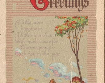 Vintage Thanksgiving Greetings Postcard UNUSED
