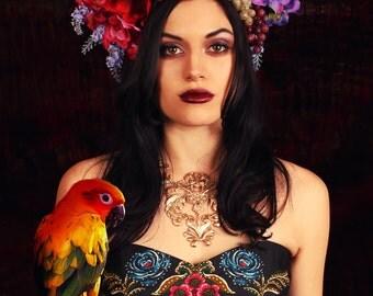 Floral Headdress/ Floral Crown/ Flower Crown/ Flower Headdress/ Frida Kahlo/ Carmen Miranda