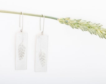Ready to ship. Handmade Whitened Sterling Silver Asymmetrical Quaking grass Long Earrings. Inspired by Nature Meadow design Made in Latvia