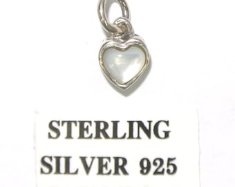 Sterling Silver Heart Charm Pendant - Small Heart charm for charm bracelet or necklace - Mother Of Pearl - Great Valentine's Gift !