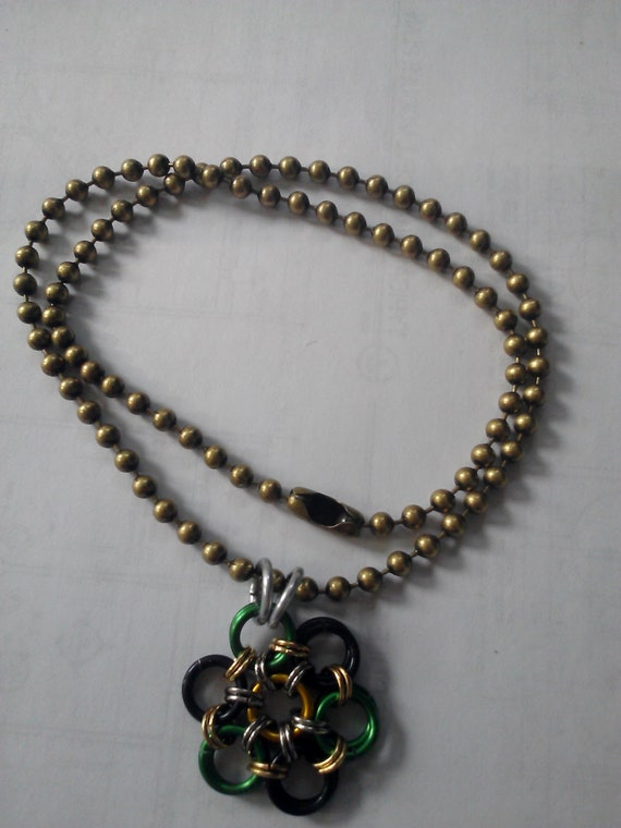 loki inspired chainmail necklace green yellow black by