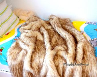 Brown Tip Polar Bear Luxury Throws Premium Faux Fur Blanket Comforter Bedroom Throws Custom Made USA