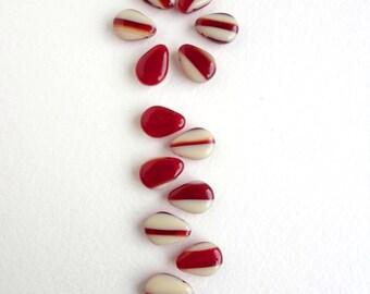 10 x 13x10mm Czech Glass Beads, Deep Red & Cream Drop Czech Glass Beads, Red and Cream Drop Beads DRP0004