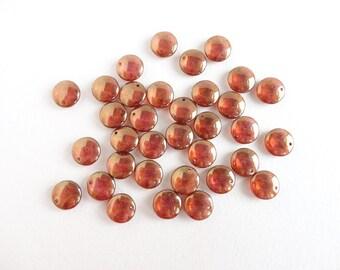 10 x 12mm Czech Glass Beads, Luster Lentil Czech Glass Beads, Lentil Glass Beads, Gold Luster Lentil Beads LEN0003