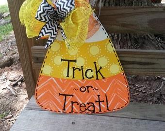 Candy Corn Door Hanger, Candy Corn Door Decor, Halloween Door Hanger