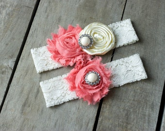 Ivory and Coral Wedding Garter Set, Bridal Garter, Wedding Garter, Shabby Chic Garter, Satin Garter