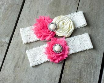 Hot Pink and White Wedding Garter Set, Bridal Garter, Wedding Garter, Shabby Chic Garter, Satin Garter