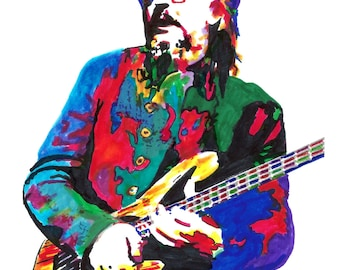 """Les Claypool, Primus, Bass Guitar, Bassist, Funk Rock, Funk Metal, POSTER from Original Drawing 18"""" x 24"""" Signed/Dated by Artist w/COA"""