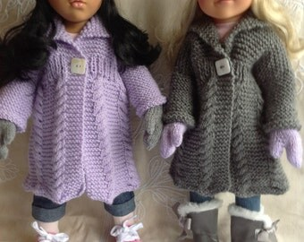 "Dolls Fashion Clothes Knitting pattern. 18"" doll. Gotz, American Girl, Design-a-Friend. PDF Instant download."