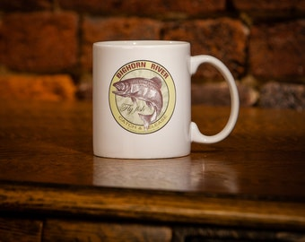 Bighorn River Fly Fish Catch & Release Trout Coffee Mug 11 oz white ceramic - Fly Fishing Gift -