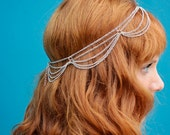 THE MAIA Silver Draped Hair Chain Jewelry Sexy Head Accessory Boho Goddess Greek Gladiator Festival  Warrior Princess Costume Christmas